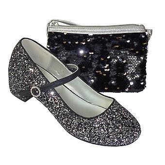 Jenter svart og sølv glitter heeled sko med overbody bag