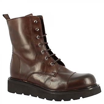 Leonardo Shoes Women's handmade wedges lace-ups ankle boots in dark brown calf leather with side zip