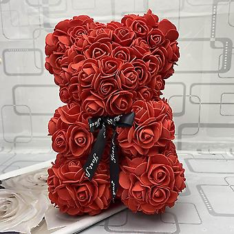 Teddy Rose Bear With Box Artificial Pe Flower Valentine's Day Forfriend Women