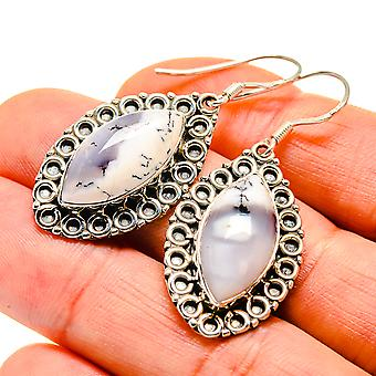 "Dendritic Opal Earrings 1 3/4"" (925 Sterling Silver)  - Handmade Boho Vintage Jewelry EARR411115"
