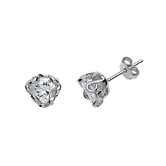 Jewelco London Ladies Rhodium Plated Sterling Silver Cubic Zirconia Wave Stud Boucles d'oreilles