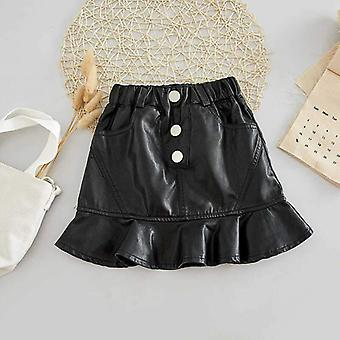 Leather Pu Zipper Skirt