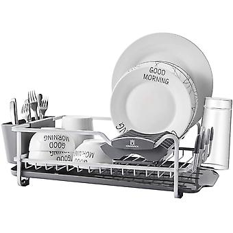 Kingrack Aluminum Dish Drainers, Dish Rack with Expandable Over Sink Drainer, Double Dish Drying