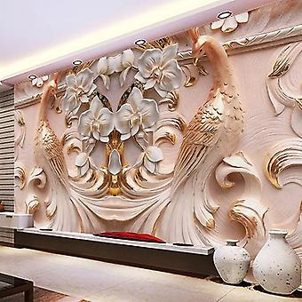 3d Relief Peacock Butterfly Floral - Living Room Wallpaper