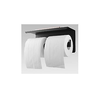 Matt Black Double Toilet Paper Holder With Cover