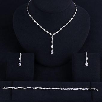 Luxury Elegant Shape Bridal Necklace Bracelet Jewelry Set
