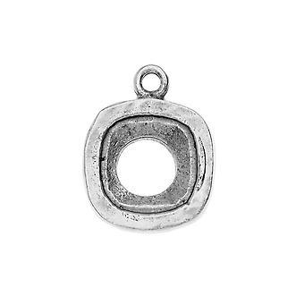 Final Sale - Nunn Design Open Back Bezel Charm, Fits #4470 Cushion Fancy Stone 12mm, 1 Piece, Antiqued Silver