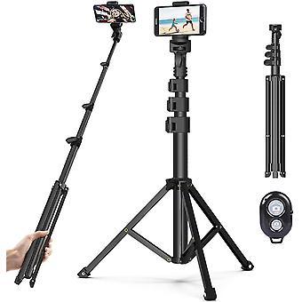 FengChun Handy Stativ Phone Selfie Stick, 131cm Leichtgewicht Wireless Selfie-Stange mit 3 in 1