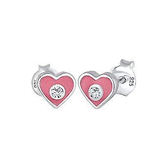 Elli Hartvormige meisjes oorbellen, in zilver 925 geëmailleerd, met kristallen briljant gesneden - 0303591317
