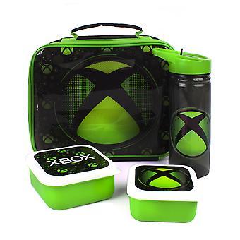 | xbox lunch bag Sac à dîner 4 pièces, bouteille d'eau sans BPA et 2 casse-croûte | Black Green Gamer Food Container One Size