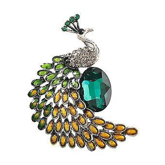 Elegante Damen Brosche Pfau Korsage Diamant eingelegt bemalt Brosche Pin