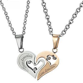 Women Necklace Lovers Heart Match Pure Steel Titanium Pendant For Fetival