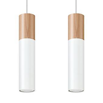 Sollux PABLO SL.0629 Twin Hanging Hanglamp Wit, Natuurlijk Hout GU10