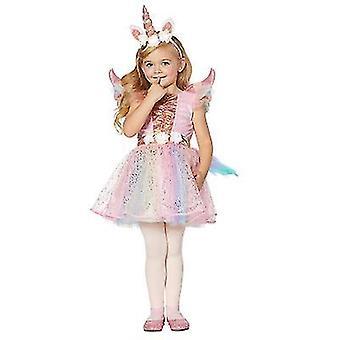 Pige enhjørning kostume, Pink Mesh Tutu Kjole Prinsesse Fødselsdagsfest Gave Halloween med pandebånd