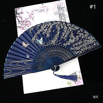 Chinese Vintage Style Folding Fan Art Craft Gift Dance Hand Fan Home Decoration Ornaments(#1)