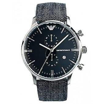 Emporio Armani AR1690 Denim Strap Blue Dial Chronograph Watch
