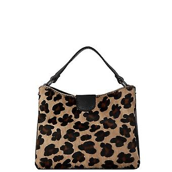 Leopardtryck hår på hide läder grab väska