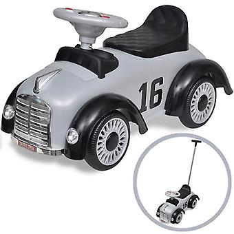Retro Children's Ride-on Car with Push Bar Grey Kids Riding Toy Vehicle