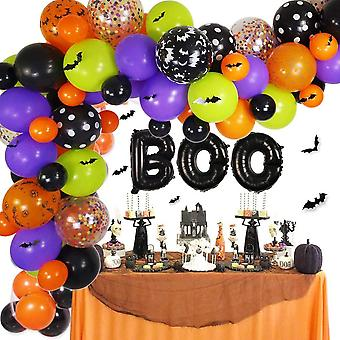 Halloween Balloons Garland Kit With 3d Bat Stickers Decoration