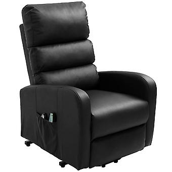 Black Faux Leather Power Massage Lift Recliner Chair With Heat & Vibration With2 Side Pockets