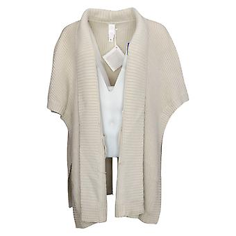 MarlaWynne Women's Sweater M/L Ribbed Knit Poncho Topper Ivory 711843