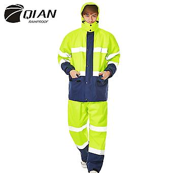 Qian- Men And Women Waterproof Multi-function Raincoat Jacket And Pants Suit Thickened Rain Poncho
