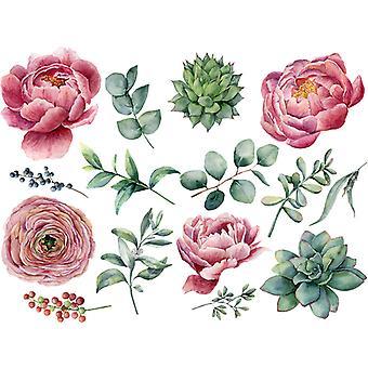 Rosa Peonia Fiori Adesivi Murali Decalcomanie Camera da letto Decor Wallpaper Paste
