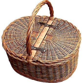 Two Tone Oval Picnic 2 Lid Twist Handle Empty Picnic Basket