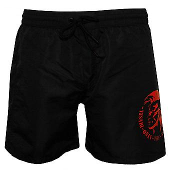 Diesel Mid-Length Mohawk zwemmen Shorts, zwart met rood