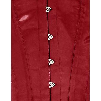 Mio Corset AIC-01-56 Caroline Maroon Red Satin Victorian Neckline Steel-Boned Overbust Corset