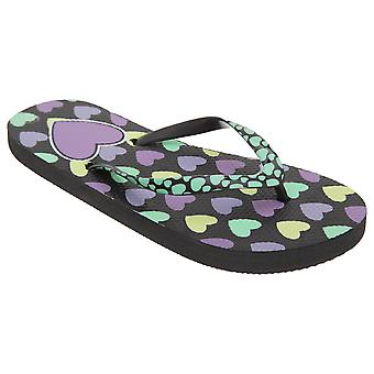 FLOSO Girls Heart Print Flip Flops With Heart Printed Strap