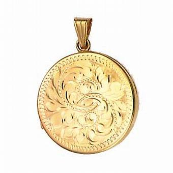 9ct Gold 29mm flat round hand engraved Locket