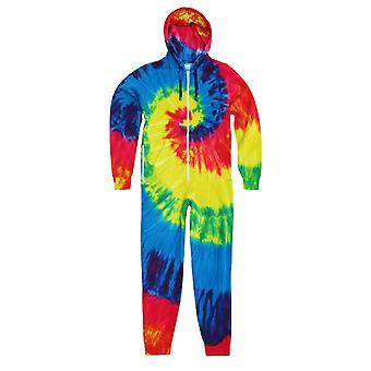 Colortone Unisex Adults Full Zip Rainbow Tie Dye Onesie