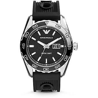 Orologio in Silicone nero cinturino quadrante nero AR6044 degli uomini di Emporio Armani Sportivo