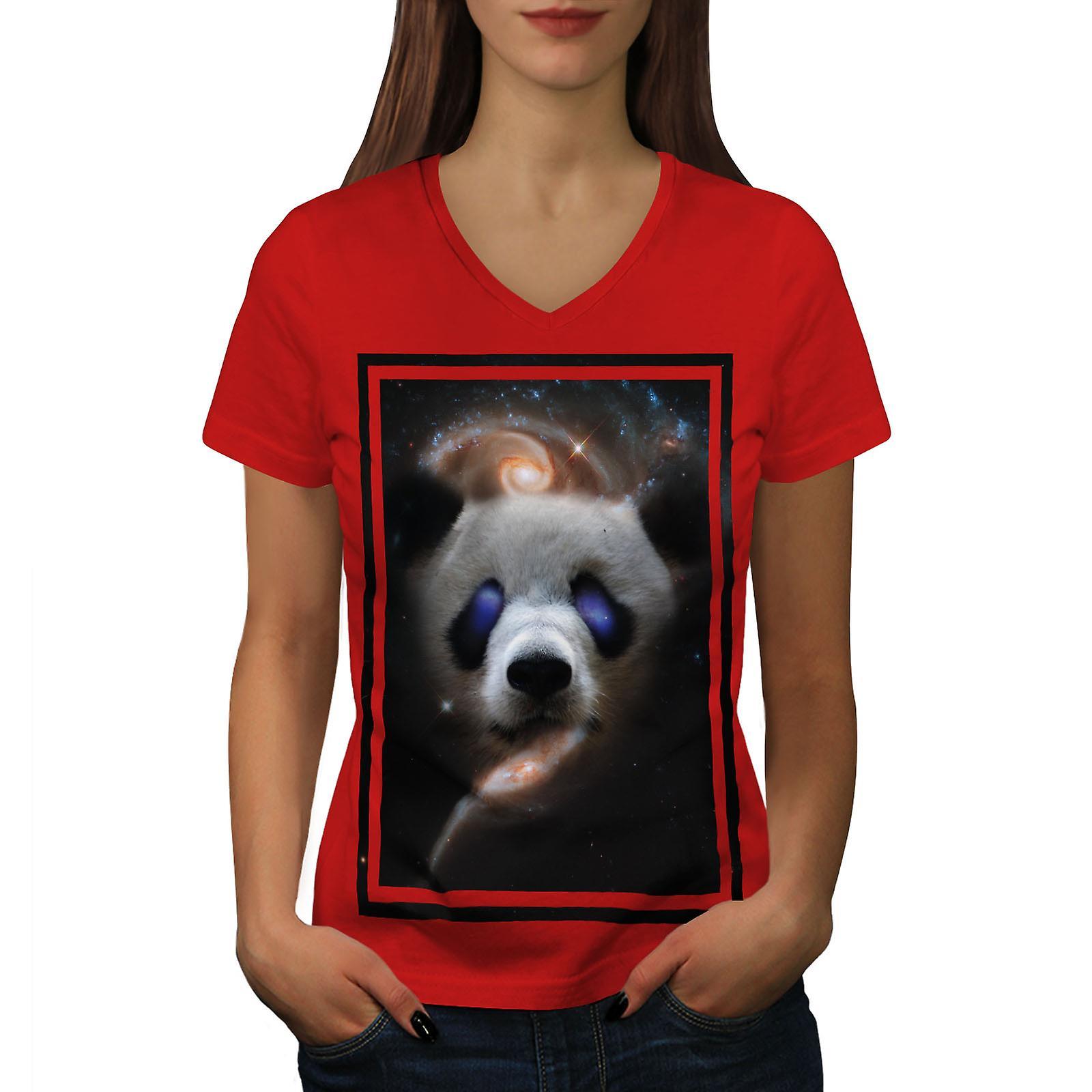 Panda Galaxy visage femmes animaux RedV-Neck T-shirt | Wellcoda