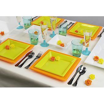 Utensílios de mesa de festa para 8 convidados 66-teilig festa pacote verão festa pacote de design