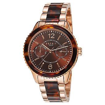 Esprit Damen Uhr Armbanduhr Marin Tortoise Edelstahl Rosé ES106742004