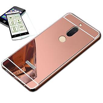 Spegel / spegel aluminium stötfångare 2 st rosa + 0.3 mm H9 härdat glas för Huawei ära Visa 10 / V10