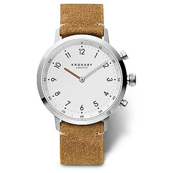 Kronaby 41mm NORD Brown Suede Leather Stainless Steel A1000-3128 S3128/1 Watch