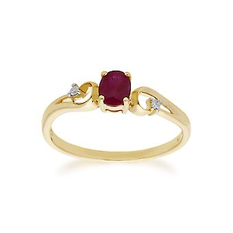 Classic Oval Ruby & Diamond Ring in 9ct Yellow Gold 135R1741019