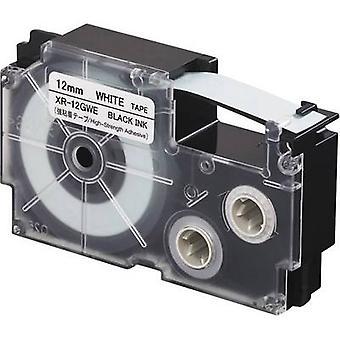 Merking tape (ekstra sterk lim) Casio XR XR-12GWE Tape farge: hvit skrift farge: svart 12 mm 5,5 m
