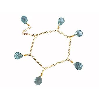 Gemshine - ladies - bracelet - gold plated - aquamarine crystal - blue