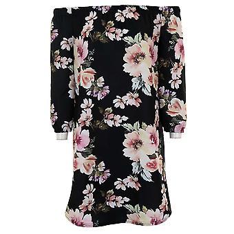 Ladies Bardot Off Shoulder Crepe texturerat blommig 3/4 ärm Mini Flare klänning