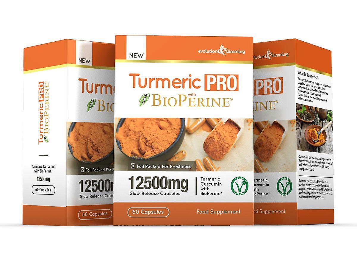 Turmeric Pro with BioPerine 12,500mg 95% Curcuminoids - 180 Capsules - Fat Burner - Evolution Slimming
