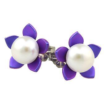 TI2 titanio grande fiore e orecchini di perle - porpora imperiale
