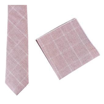 Knightsbridge dassen katoen stropdas en zak plein Set - schemering roze