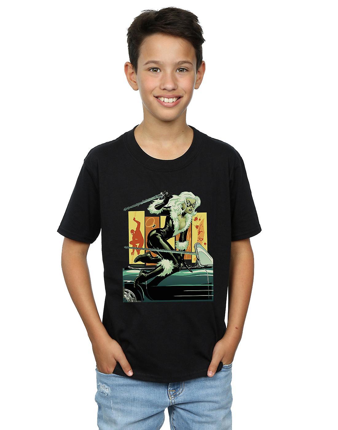 Marvel Boys Black Cat Car T-Shirt