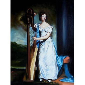 Femme élégante avec le solitaire, peinture à l'huile sur toile, 30x40 cm