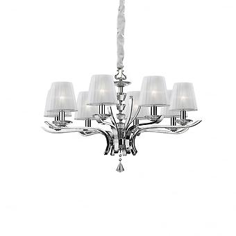 Ideal Lux Pegaso 8 Light Pendant Chandelier Chrome With Shades
