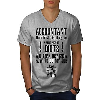 Accountant Problems Men GreyV-Neck T-shirt | Wellcoda